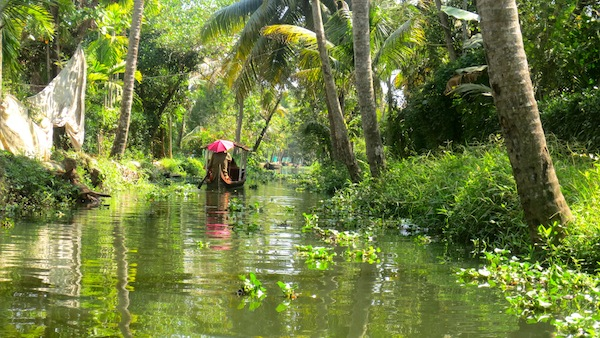 Cruising on the backwaters of south India