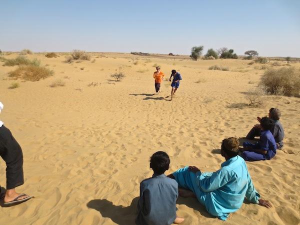 Foot racing desert children! (I lost)