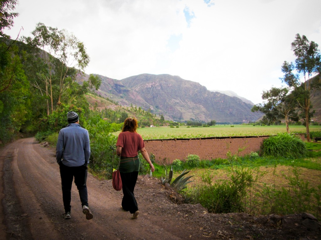 Ayahuasca crew going for a walk in the Sacred Valley countryside